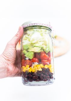 Vegan Mexican Salad in a Mason Jar - Mason Jar Salad Ideas - Buddham Bowl in Mason Jar - Make Ahead Salad Ideas - @Mason Jar Crafts Love
