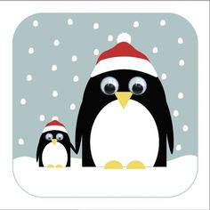 Poppy penguin Christmas card by stripey cats