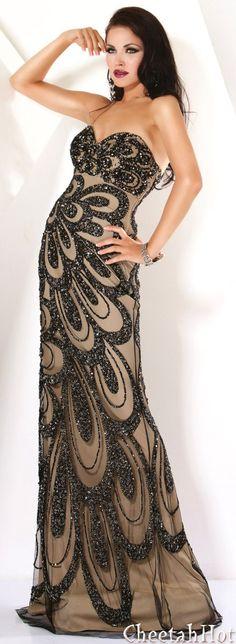 JOVANI - Authentic Designer Dress - Strapless Full Length - Black/Nude
