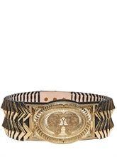 Balmain Gold Plated Brass Leather Belt-Bigger the better!