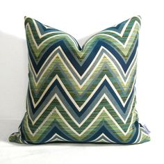 Green Navy Blue Pillow Cover - Chevron Outdoor Indoor - Decorative - Geometric Jade Olive - Home Decor - Sunbrella Cushion - 16 18 20 inch