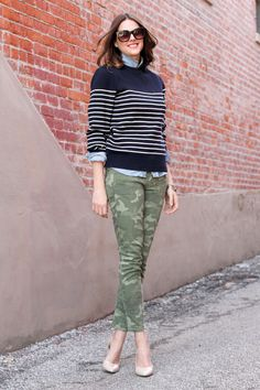 What I Wore: Camouflaged Patterned Pants Outfit, Colored Pants, Casual Work Outfits, Work Casual, Cute Outfits, What I Wore, What To Wear, Pants Pattern, Skinny