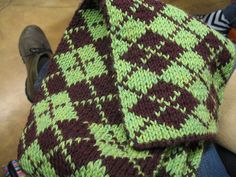 Double Knitted Argyle Scarf (up close), via Flickr.