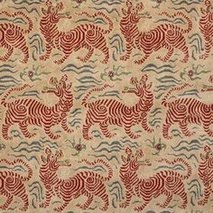 Clarence House Fabric 34545-2 Tibet Small Scale Red