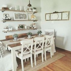 Farmhouse Dining Room Table & Decorating Ideas Bauernhaus Esstisch &am. Farmhouse Dining Room Table, Dining Room Table Decor, Dining Room Walls, Decoration Table, Dining Room Design, Rustic Table, Living Room, Dining Room Shelves, Dining Wall Decor Ideas