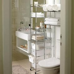 futuristic stainless steel bathroom shelf decorating ideas with porcelains