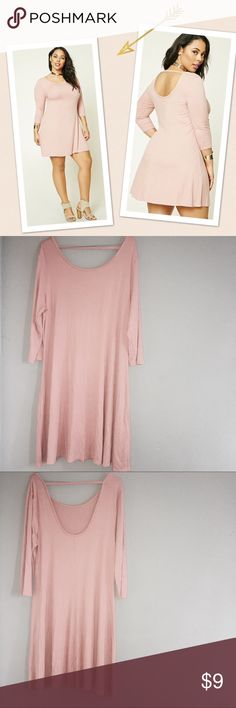 Plus Size Swing Dress Forever 21 + - A Beautiful Dusty Pink Colored Ribbed Knit Swing Dress Featuring A Scoop Neck, A Scoop Back With A Support Strap, 3/4 sleeves, And A Flared Skirt. New without tags. Hasn't been worn. Forever 21 Dresses