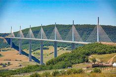 Millau Viaduct (cable-stayed bridge, L Norman Foster. near Millau in southern France. Cable Stayed Bridge, Award Display, Tottori, Destinations, Famous Bridges, Sites Touristiques, Zhuhai, Paris Images, Bridge Design