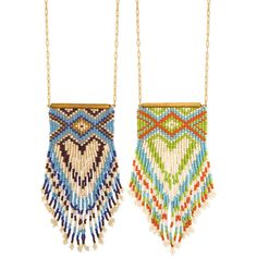 """Native American inspiredgold metal chain with peyote stitch southwest design fringe pendant. 28"""" - 30"""" long, 2.25"""" - 5.25"""" pendant gold metal, glass blue or or"""