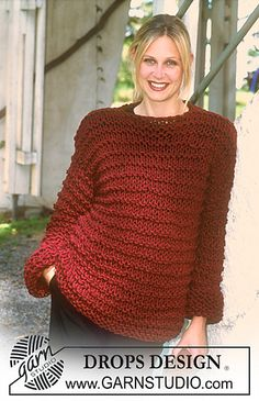 Free knitting patterns and crochet patterns by DROPS Design Loose Knit Sweaters, Hand Knitted Sweaters, Sweater Knitting Patterns, Free Knitting, Crochet Patterns, Drops Design, Handgestrickte Pullover, Knitting For Beginners, Pulls