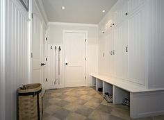 mudroom locker with doors....the bench and shoe storage is so convenient