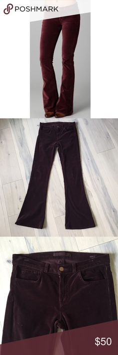 """J Brand red velvet soft & strechy flares Super duper soft & stretchy flared pants from J Brand. Low rise, slim to the calm with a wide flare to the hem. Soft, stretch velvet in a deep red, called Wine. Style is """"Martini"""". Size  *These have been professionally hemmed.   Waist: 30""""  Rise: 9""""  Inseam: 32.5"""" J Brand Jeans Flare & Wide Leg"""