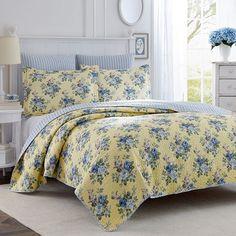 Laura Ashley Lifestyles Linley Floral Quilt Set, Blue
