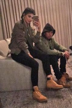 Kylie Jenner wearing Timberland Premium Boot in Wheat Nubuck and Bossa Hustle Quilted Bomber Jacket