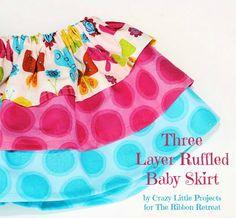 Three Layer Ruffled Baby Skirt - So easy, perfect for beginners! {The Ribbon Retreat Blog}
