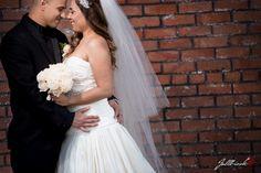 Romantic moment captured between bride and groom