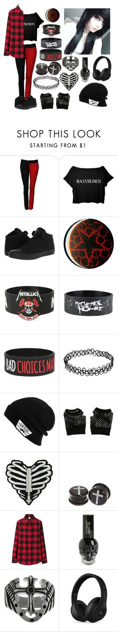 """Emo af"" by xxkrysxx ❤ liked on Polyvore featuring Converse, Hot Topic, Vans, Uniqlo, Carolina Glamour Collection, Beats by Dr. Dre, BVB, emo, edgy and redandblack"