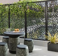 Small spaces can be full of light with Matrix screens! Create intimate areas that hide not-as-wonderful views (driveway, neighbors) or add intrigue to what's beautiful behind...ala a pool or a garden. Great as a trellis! #garden #patio #private #inspiration
