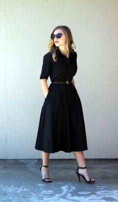 I love this shirtdress, and OMG pockets. I wouldn't wear the shoes, though - some kitten heels or flats in a fun color or print would be my choice.