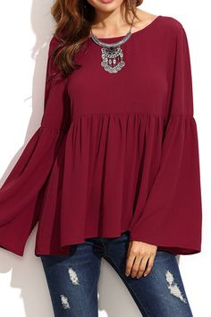 Burgundy Flared Long Sleeves Pleated Loose Blouse