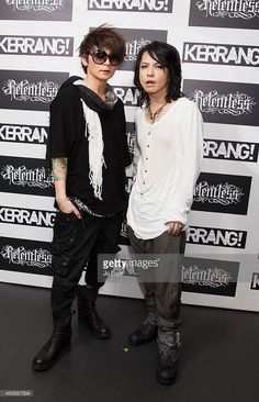 Hyde and K.A.Z. of The Vamps (Japanese Rock Band) pose in the Awards Room at The Kerrang! Awards at the Troxy on June 12, 2014 in London, England.