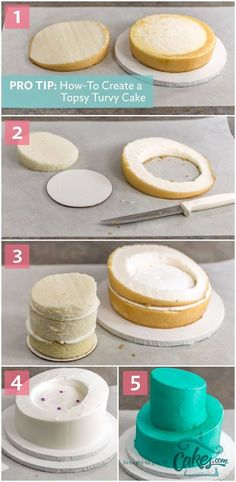 Simple instructions for making a topsy-turvy cake (with photos!) (Cake Recipes For Fondant) Cake Decorating Techniques, Cake Decorating Tips, Cookie Decorating, Decorating Supplies, Decoration Patisserie, Dessert Decoration, Decorations, Food Cakes, Cupcake Cakes