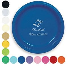 Celebrate your graduate's achievement by featuring their name and class year on 10 inch round personalized graduation dinner plates.  These large plastic plates are perfect for serving delicious food to your party guests, as well as adding color and custom style to your party decor.