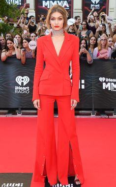 Gigi Hadid from iHeartRadio Much Music Video Awards 2016 Red Carpet Arrivals  Radiant in red! The evening's host steps out in a hot number.