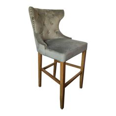 Grey Velvet Tufted High Bar Stool  This Grey Velvet Tufted High Bar Stool makes an ideal addition to bar or kitchen area.  Finished in grey velvet gives this piece an element of luxury and glamour while the colour ensures it will fit into most interiors…