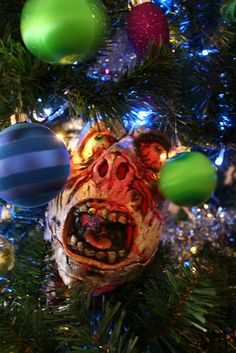 Zombie in the Christmas tree!                             This one is for you Christina !!!!!!