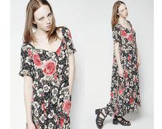 Vintage 1990s Grunge India Floral Rose Hippie Boho by BOLOvintage