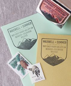 Inspired by wilderness patches, this address stamp features a snow capped mountain range ready to grace your next letter. All of The Chatty Press address stamps can be customized with first names, las