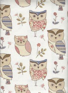 'Hoot Blue' Fryett's Fabrics