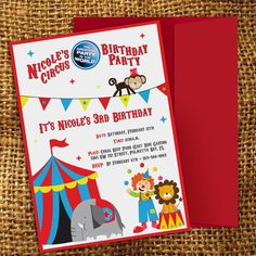 DIGITAL PRINTABLE FILE Circus Birthday Party Invitation (file only) Ringmaster, Carnival Party