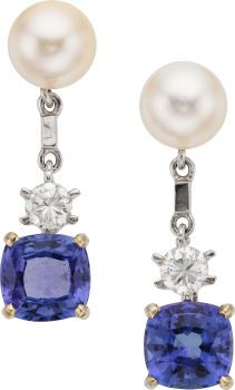 Diamond, Tanzanite, Cultured Pearl, White Gold Earrings