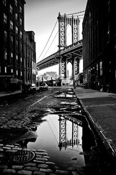 Bridge Reflection, New York ► © Guillame Gaudet Black And White Photo Wall, Black And White Wallpaper, Photo Black, Black And White Pictures, Black And White Photography, Photo Wall Art, Photo Wall Collage, Picture Wall, Photo Background Images