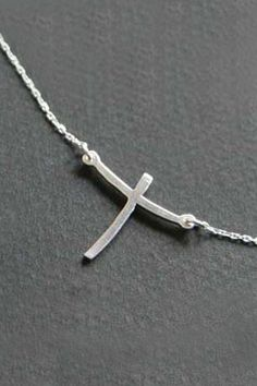 Sterling Silver Curved Cross Necklace – Celebrate Faith