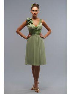 Chiffon-Charmeuse V-neck Neckline Short Special Occasion Dress