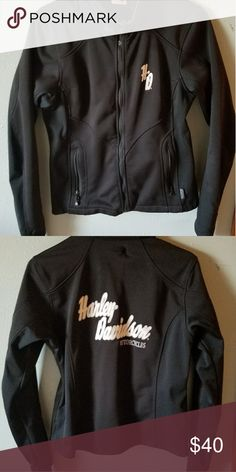 Women's Harley softshell riding jacket Women's size medium, Harley softshell riding jacket.  Hardly worn!  Thumb holes!  Wind proof, water resistant! $40 Harley-Davidson Jackets & Coats