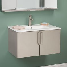 """30"""" Crosstown Stainless Steel Wall-Hung Vanity - Polished"""