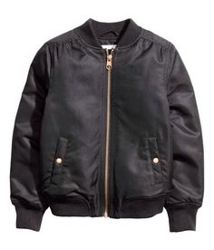 Bomber jacket. $34.99 H&M Lightly padded pilot jacket in woven fabric with a slight sheen. Ribbed stand-up collar, zip at front, side pockets with snap fastener, and ribbing at cuffs and hem. Lined.