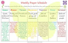 a weekly prayer schedule that helps you remember what to pray for, without feeling overwhelmed.