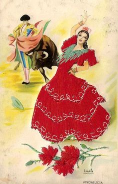 old postcard of a spanish lady, embroidered, posted in 1958 from Spain