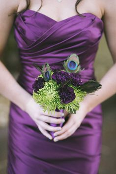 Purple Bridesmaid Dress & Bouquet. Peacock feathers, I love this and that dress! I think I want you!!!!