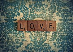 Inspiration for a canvas covered in damask and add scrabble tile to.