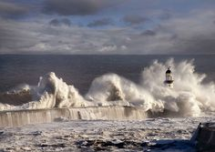 Seaham lighthouse on the north-east coast of England, this spectacular image was taken during a north sea tidal surge on 9th of September 2007