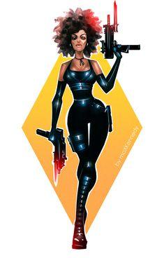 Deadpool - Domino by maXKennedy on DeviantArt Marvel Comics, Domino Marvel, Marvel Vs, Marvel Heroes, Domino Superhero, Black Girl Art, Black Women Art, Black Anime Characters, Marvel Characters
