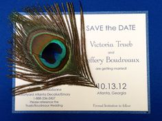 Peacock Feather Themed Wedding Save the Dates - By The Party Girl Events