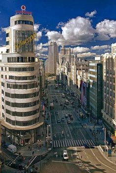 Busy street in Madrid, Spain. You can own a piece of Madrid at www.pieceofthewor...