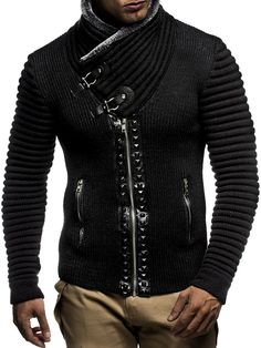 LEIF NELSON Men's Knitted Jacket Cardigan LN5165